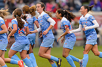 Bridgeview, IL, USA - Sunday, May 1, 2016: Chicago Red Stars players celebrate a Christen Press (23) goal during a regular season National Women's Soccer League match between the Chicago Red Stars and the Orlando Pride at Toyota Park. Chicago won 1-0.
