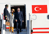 Pictured: Turkey president Recep Tayyip Erdogan with wife Emine, arrive at the Eleftherios Venizelos Airport in Athens.<br /> Re: Turkey's president Recep Tayyip Erdogan has begun a landmark visit to Greece. Thursday 07 December 2017