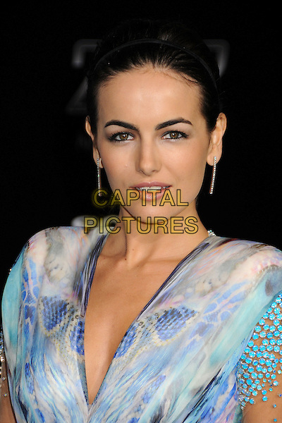 "CAMILLA BELLE.""2012"" Los Angeles Premiere held at Regal Cinemas LA Live, Los Angeles, California, USA..November 3rd, 2009.headshot portrait white blue purple beads beaded grey gray dangling diamante earrings .CAP/ADM/BP.©Byron Purvis/AdMedia/Capital Pictures."