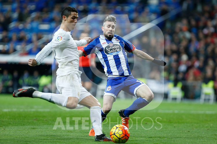 Real Madrid´s Cristiano Ronaldo and Deportivo de la Coruna´s Luisinho during 2015/16 La Liga match between Real Madrid and Deportivo de la Coruna at Santiago Bernabeu stadium in Madrid, Spain. January 09, 2015. (ALTERPHOTOS/Victor Blanco)