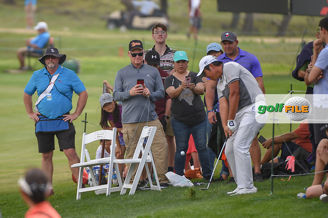 Byeong Hun An (KOR) chips on to 18 from the gallery during day 3 of the Valero Texas Open, at the TPC San Antonio Oaks Course, San Antonio, Texas, USA. 4/6/2019.<br /> Picture: Golffile | Ken Murray<br /> <br /> <br /> All photo usage must carry mandatory copyright credit (© Golffile | Ken Murray)
