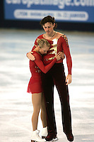 November 19, 2005; Paris, France; Figure skating stars TATIANA TOTMIANINA and MAXIM MARININ of Russia moments after skating to gold in pairs figure skating at Trophee Eric Bompard, ISU Paris Grand Prix competition.  Totmianina and Marinin are one of the favorites for medals in pairs at the Torino 2006 Olympics.<br />Mandatory Credit: Tom Theobald/<br />Copyright 2005 Tom Theobald