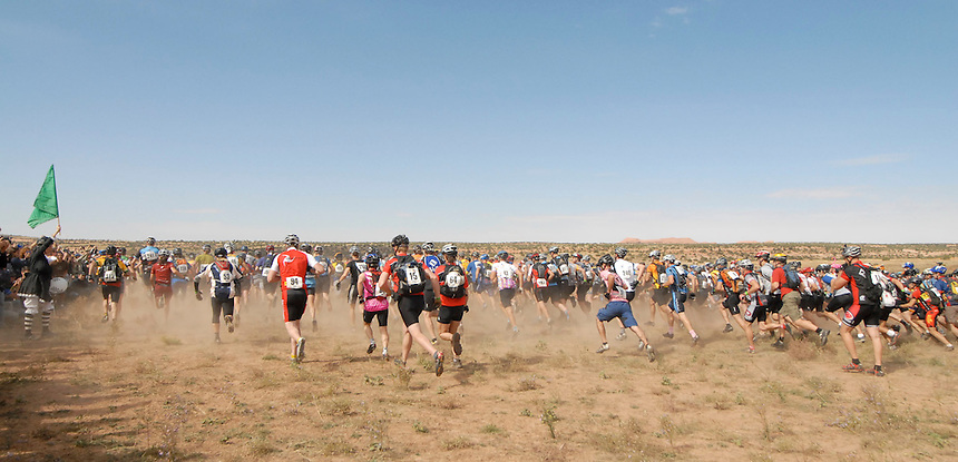 Racers run approximately 1/2 mile in the Lemans start of the 2007 24 hours of Moab endurance mountain biking event.