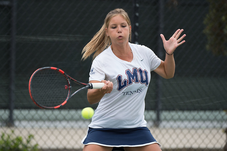 April 22, 2015; San Diego, CA, USA; Loyola Marymount Lions tennis player Andrea Crespo during the WCC Tennis Championships at Barnes Tennis Center.