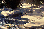 Snow Scene, Canada, showing frozen river, sunlight, ice