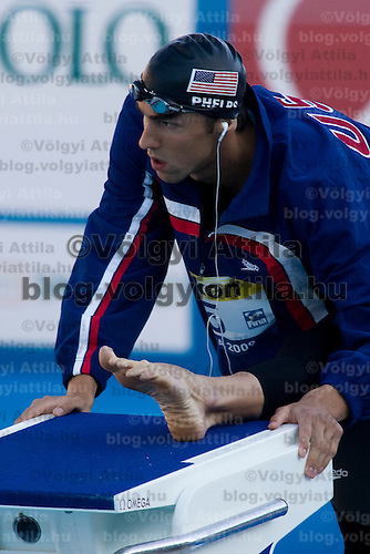 Michael Phelps prepares his 200 m Men Butterfly competition he won during the 13th FINA Swimming World Championships held in Rome, Italy. Wednesday, 29. July 2009. ATTILA VOLGYI