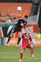 D.C. United midfielder Marcelo Saragosa (11) heads the ball against Chicago Fire forward Chris Rolfe (18) D.C. United defeated The Chicago Fire 4-2 at RFK Stadium, Wednesday August 22, 2012.