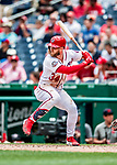 1 August 2018: Washington Nationals outfielder Bryce Harper in action against the New York Mets at Nationals Park in Washington, DC. The Nationals defeated the Mets 5-3 to sweep the 2-game weekday series. Mandatory Credit: Ed Wolfstein Photo *** RAW (NEF) Image File Available ***