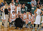 SPEARFISH, SD - DECEMBER 21, 2013:  Black Hills State head women's basketball coach Mark Nore talks to the team during a timeout during their Rocky Mountain Athletic Conference game against Regis Saturday at the Donald E. Young Center in Spearfish, S.D.  (Photo by Dick Carlson/Inertia)
