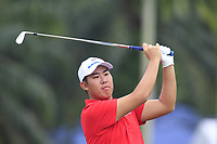 Byeonghun An (Asia) on the 2nd tee during the Singles Matches of the Eurasia Cup at Glenmarie Golf and Country Club on the Sunday 14th January 2018.<br /> Picture:  Thos Caffrey / www.golffile.ie