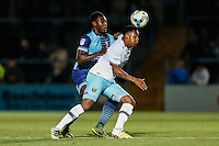 Aaron Pierre of Wycombe Wanderers keeps a close eye on the West Ham attacker during the The Checkatrade Trophy match between Wycombe Wanderers and West Ham United U21 at Adams Park, High Wycombe, England on 4 October 2016. Photo by David Horn.