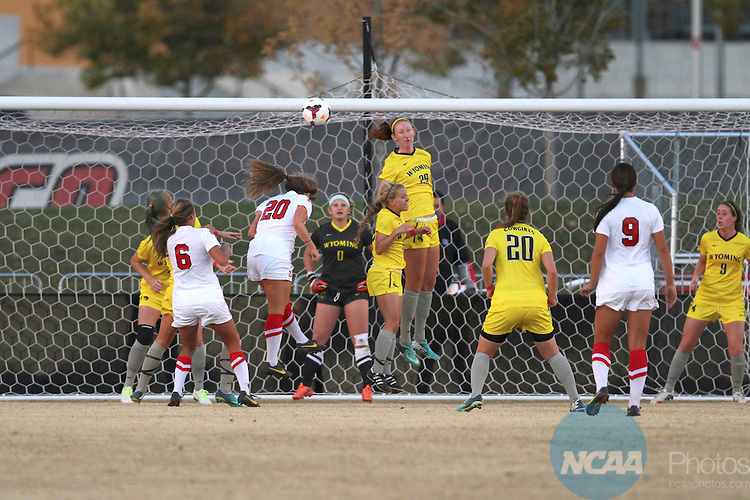 04 NOV 2013: Junior defender Kasey Curtis (#29) of The University of Wyoming clears a corner kick during Game 1 of the Mountain West Conference Women's Soccer Championship held at the UNM Soccer Complex in Albuquerque, NM. Wyoming advanced  4-2 on penalty kicks. (Juan Labreche/NCAA Photos)