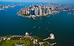 Aerial view of Governors Island, Fort Jay, Lower Manhattan, Ferry Terminals, New York Harbor New York NY