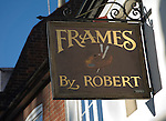 Close up of Frames by Robert art suppliers shop, Woodbridge, Suffolk, England