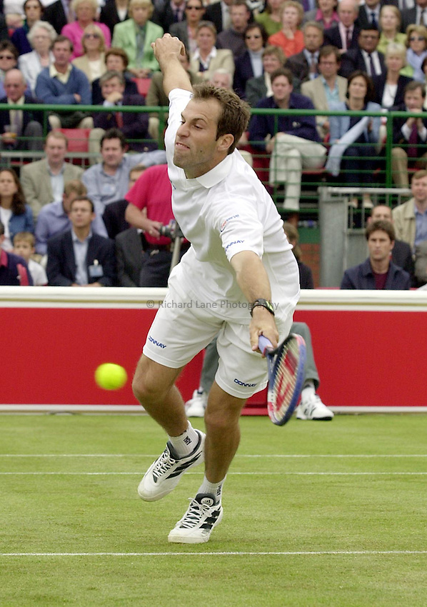 Photo:Ken Brown .11/06/2001. .Stella Artois Championship 2001 .Greg Rusedski lunges for a volley.