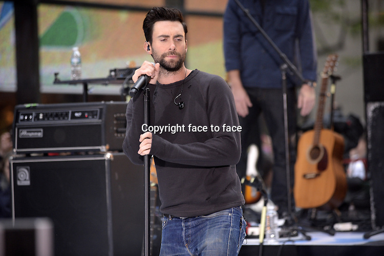 NEW YORK, NY - JUNE 14: Lead singer Adam Levine of Maroon 5 performs live on NBC's 'Today' at the NBC's TODAY Show on June 14, 2013 in New York, New York.<br /> Credit: MediaPunch/face to face<br /> - Germany, Austria, Switzerland, Eastern Europe, Australia, UK, USA, Taiwan, Singapore, China, Malaysia, Thailand, Sweden, Estonia, Latvia and Lithuania rights only -