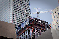 Trump International Hotel and Tower is seen under construction in Toronto April 19, 2010.  Built by Talon International Development Inc., which is owned by Val Levitan and Canadian businessman Alex Shnaider, Trump International Hotel & Tower is a mixed-use skyscraper currently under construction in Toronto, Ontario, Canada.