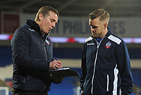 Bolton Wanderers manager Phil Parkinson chats with Craig Noone<br /> <br /> Photographer Kevin Barnes/CameraSport<br /> <br /> The EFL Sky Bet Championship - Cardiff City v Bolton Wanderers - Tuesday 13th February 2018 - Cardiff City Stadium - Cardiff<br /> <br /> World Copyright &copy; 2018 CameraSport. All rights reserved. 43 Linden Ave. Countesthorpe. Leicester. England. LE8 5PG - Tel: +44 (0) 116 277 4147 - admin@camerasport.com - www.camerasport.com