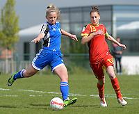 U 15 Belgian Red Flames - Virginia USA :<br /> <br /> Duel tussen Gwen Duijsters (R) en een speelsters van Virginia USA  (L)<br /> foto Dirk Vuylsteke / Nikonpro.be