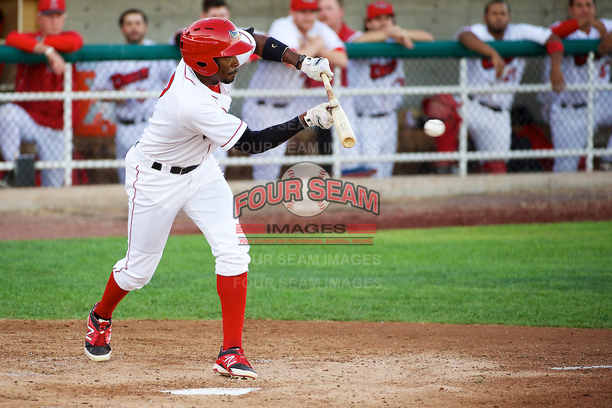 Quinten Davis (7) of the Orem Owlz squares to bunt against the Billings Mustangs at Home of the OWLZ on August 15, 2014 in Orem, Utah.  (Stephen Smith/Four Seam Images)