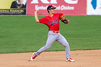 Peoria Chiefs shortstop Tommy Edman (16) throws to first base during a Midwest League game against the Beloit Snappers on April 15, 2017 at Pohlman Field in Beloit, Wisconsin.  Beloit defeated Peoria 12-0. (Brad Krause/Four Seam Images)