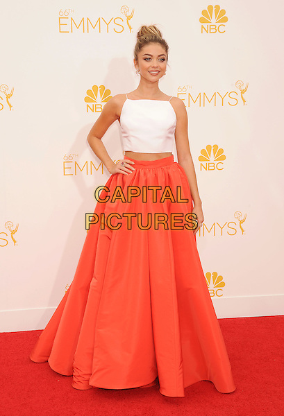 LOS ANGELES, CA- AUGUST 25: Actress Sarah Hyland arrives at the 66th Annual Primetime Emmy Awards at Nokia Theatre L.A. Live on August 25, 2014 in Los Angeles, California.<br /> CAP/ROT/TM<br /> &copy;Tony Michaels/Roth Stock/Capital Pictures