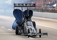 Apr 25, 2014; Baytown, TX, USA; NHRA top fuel dragster driver Shawn Langdon during qualifying for the Spring Nationals at Royal Purple Raceway. Mandatory Credit: Mark J. Rebilas-