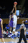 20 March 2015: Duke's Azura Stevens (right) wins the opening tipoff against Albany's Shereesha Richards (JAM) (25). The Duke University Blue Devils hosted the University at Albany Great Danes at Cameron Indoor Stadium in Durham, North Carolina in a 2014-15 NCAA Division I Women's Basketball Tournament first round game.