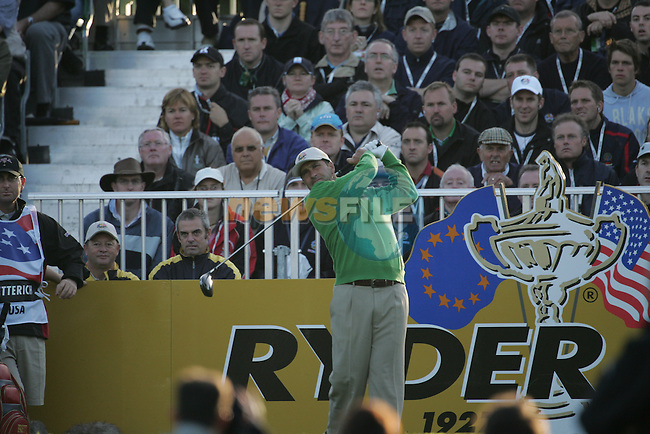 Straffin Co Kildare Ireland. K Club Ruder Cup...European Ryder Cup team members JosŽ Maria Olaz‡bal teeing off on the first hole during the opening fourball session of the first day of the 2006 Ryder Cup, at the K Club in Straffan, Co Kildare, in the Republic of Ireland, 22 September 2006..Photo: Fran Caffrey/ Newsfile.