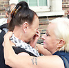 Mark Duggan <br /> march and demonstration / vigil at the Broadwater Estate and outside Tottenham Police Station, Tottenham, London, Great Britain <br /> 4th August 2017 <br /> <br /> on the 6th anniversary after he was killed in 2011. <br /> <br /> Pam Duggan (left) , mother of Mark Duggan being consoled by a friend at the vigil <br /> <br /> <br /> Photograph by Elliott Franks <br /> Image licensed to Elliott Franks Photography Services
