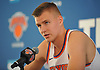 Kristaps Porzingis #6 of the New York Knicks speaks during the team's Media Day held at Madison Square Garden Training Center in Greenburgh, NY on Monday, Sept. 25, 2017.