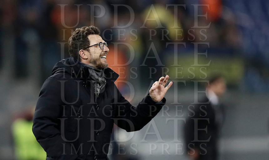 Football Soccer: UEFA Champions League  Round of 16 Second Leg, AS Roma vs FC Shakhtar Donetsk, Stadio Olimpico Rome, Italy, March 13, 2018. <br /> Roma's coach Eusebio Di Francesco gestures during the Uefa Champions League football soccer match between AS Roma and FC Shakhtar Donetsk at at Rome's Olympic stadium, March 13, 2018.<br /> UPDATE IMAGES PRESS/Isabella Bonotto