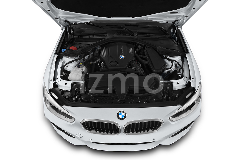 Car stock 2018 BMW 1 Series M Sport Ultimate 3 Door Hatchback engine high angle detail view