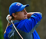 Clayton golfer David Cramer follows-through after teeing off. Golfers in Suburban Central and Suburban XII Conference schools competed in a tournament at the Gateway National Golf Course in Madison, Illinois on Wednesday April 25, 2018.  Tim Vizer | Special to STLhighschoolsports.com