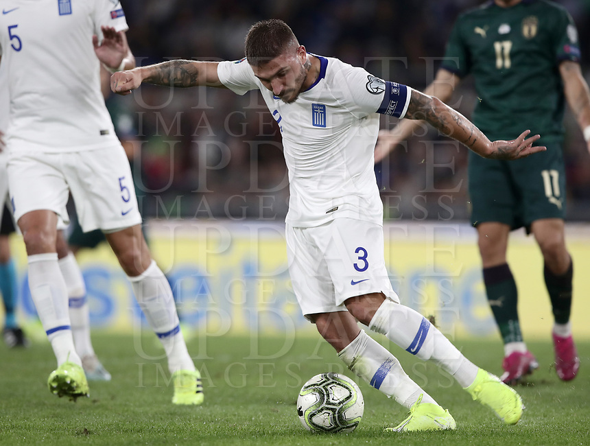 Football: Euro 2020 Group J qualifying football match Italy vs Greece at the Olympic stadium, in Rome, on October 12, 2019.<br /> Greece's captain Kostas Stafylidis in action during the Euro 2020 qualifying football match between Italy and Greece at the Olympic stadium, in Rome, on October 12, 2019.<br /> UPDATE IMAGES PRESS/Isabella Bonotto