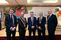 Pictured at the National Tourism Forum in The Muckross Park Hotel, Killarney at the weekend were from left, Owen Travers, AIB, Sean O'Driscoll, National President, SKAL, Pat McCann, Dalata, Keynote Speaker, Terence Mulcahy, Chairman, Kerry Branch, IHF and Dioarmuid Leen, AIB.<br />  Over 200 delegates from all over Ireland attend the inaugural event which was addressed by national and international speakers.<br /> Photo: Don MacMonagle<br /> <br /> Repro free photo