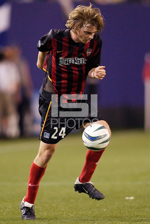 The  MetroStars' Eddie Gaven. The Chicago Fire played the NY/NJ MetroStars to a one all tie at Giant's Stadium, East Rutherford, NJ, on May 15, 2004.