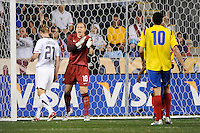 United States (USA) goalkeeper Brad Guzan (18) looks for a hand ball call. The men's national teams of the United States (USA) and Colombia (COL) played to a 0-0 tie during an international friendly at PPL Park in Chester, PA, on October 12, 2010.