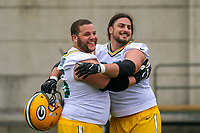 Green Bay Packers guard Lane Taylor (65) and tackle David Bakhtiari (69) during an Organized Team Activity on May 23, 2017 at Clarke Hinkle Field in Green Bay, Wisconsin.  (Brad Krause/Krause Sports Photography)