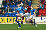 St Johnstone v Hearts....24.03.12   SPL.Darren Barr and Liam Craig.Picture by Graeme Hart..Copyright Perthshire Picture Agency.Tel: 01738 623350  Mobile: 07990 594431