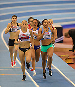10th February 2019, Arena Birmingham, Birmingham, England; Spar British Athletics Indoor Championships; Shelayna Oskan-Clarke leads after the first lap in the Women's 800m final during Day Two of the Spar Indoor Athletics Championships at Birmingham Arena