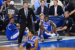 07 APR 2014: Coach John Calipari of the University of Kentucky yells to his team against the University of Connecticut during the 2014 NCAA Men's DI Basketball Final Four Championship at AT&T Stadium in Arlington, TX.  Connecticut defeated Kentucky 60-54 to win the national title. Brett Wilhelm/NCAA Photos
