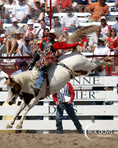 The 111th Cheyenne Frontier Days Rodeo All-Around Cowboy Chad Eubank scores an 82 point bareback ride on the Harry Vold Rodeo Company bronc Little Linda on July 22, 2007 in Cheyenne, Wyoming.