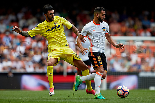 May 21st 2017, Valencia, Spain; La Liga football Valencia CF versus Villarreal CF;  Montoya (R) of Valencia CF competes for the ball with Soriano of Villarreal CF;