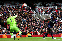 7th March 2020; Emirates Stadium, London, England; English Premier League Football, Arsenal versus West Ham United; Bernd Leno of Arsenal saves the header on goal by Michail Antonio of West Ham United