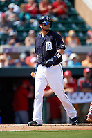 Detroit Tigers catcher Jarrod Saltalamacchia (39) walks back to the dugout during an exhibition game against the Florida Southern Moccasins on February 29, 2016 at Joker Marchant Stadium in Lakeland, Florida.  Detroit defeated Florida Southern 7-2.  (Mike Janes/Four Seam Images)