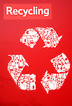 Large red recycling poster