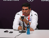 Hampden Park, Glasgow match venue for Football at London 2012...Honduras Mens Football Team Coach Luis Suarez at the Press Conference...........