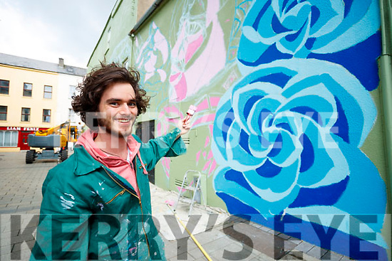 Gabriel Galwey working on a Rose of Tralee Mural in the town centre.