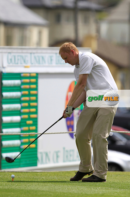 Bryan McSweeney (The Royal Dublin) on the 1st tee during the South of Ireland Amateur Open Championship Quarter Finals at Lahinch Golf Club  30th July 2013 <br /> Picture:  Thos Caffrey / www.golffile.ie